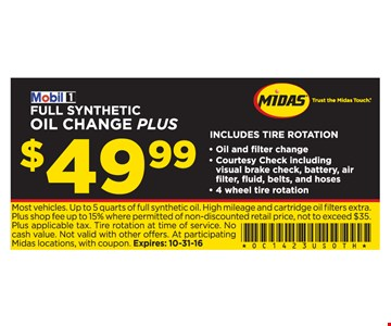 Full Synthetic Oil Change Plus $49.99