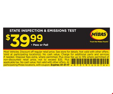 $39.99 State Inspection and Emissions Test