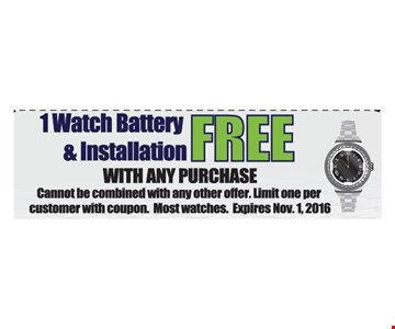 1 watch battery and installation free