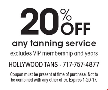 20% Off any tanning service. Excludes VIP membership and years. Coupon must be present at time of purchase. Not to be combined with any other offer. Expires 1-20-17.