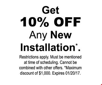 get 10% off any new installation