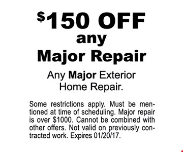$150 off any major repair