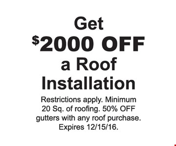 Get $2000 off a roof installation
