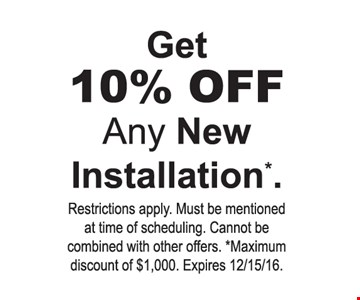10% off any new installaion