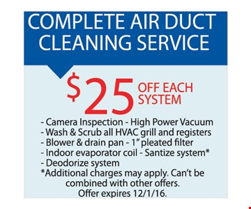 complete air duct cleaning service $25 off each system