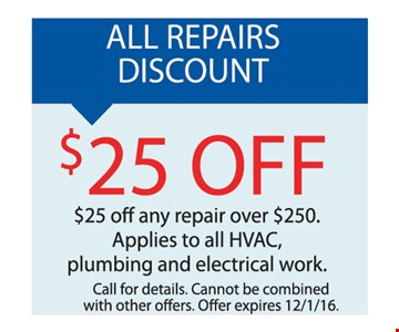 All repairs discount $25 off