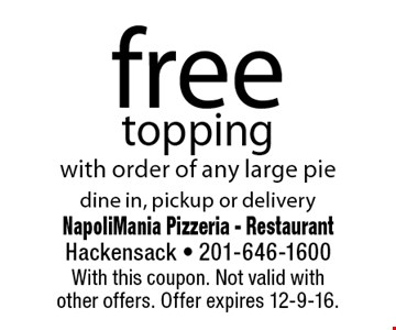 free topping with order of any large pie. dine in, pickup or delivery. With this coupon. Not valid withother offers. Offer expires 12-9-16.