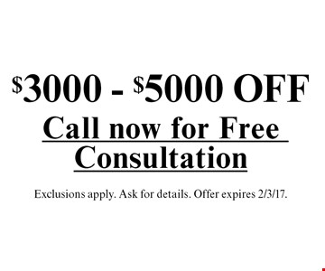 $3000 - $5000 OFF a sunroom. Exclusions apply. Ask for details. Offer expires 2/3/17.