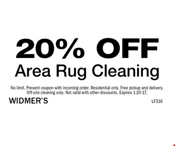 20% OFF Area Rug Cleaning. No limit. Present coupon with incoming order. Residential only. Free pickup and delivery.Off-site cleaning only. Not valid with other discounts. Expires 1-20-17.