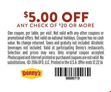 $5 off any check of $20 or more