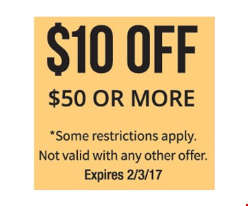 $10 off $50 or more