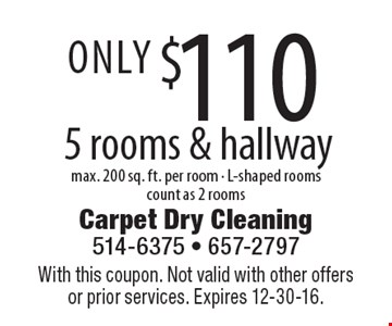 Only $110 5 rooms & hallway max. 200 sq. ft. per room - L-shaped rooms count as 2 rooms. With this coupon. Not valid with other offers or prior services. Expires 12-30-16.