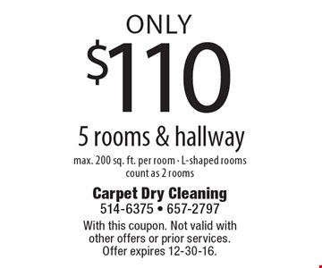 Only $110 for carpet cleaning of 5 rooms & hallway, max. 200 sq. ft. per room. L-shaped rooms count as 2 rooms. With this coupon. Not valid with other offers or prior services. Offer expires 12-30-16.