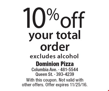 10% off your total order. Excludes alcohol. With this coupon. Not valid with other offers. Offer expires 11/25/16.
