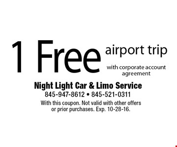 1 Free Airport Trip With Corporate Account Agreement. With this coupon. Not valid with other offers or prior purchases. Exp. 10-28-16.