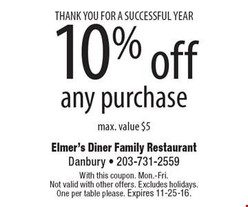 THANK YOU FOR A SUCCESSFUL YEAR 10% off any purchase max. value $5. With this coupon. Mon.-Fri.Not valid with other offers. Excludes holidays.One per table please. Expires 11-25-16.