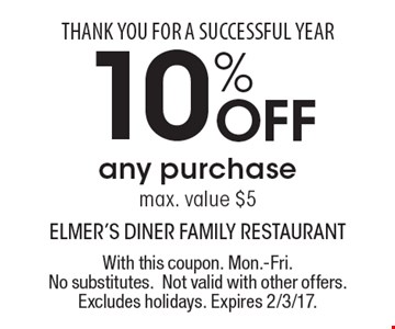 THANK YOU FOR A SUCCESSFUL YEAR. 10% Off any purchase. Max. value $5. With this coupon. Mon.-Fri. No substitutes. Not valid with other offers. Excludes holidays. Expires 2/3/17.