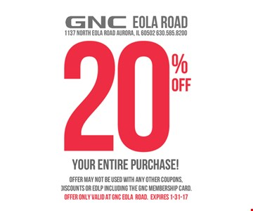20% off your purchase.