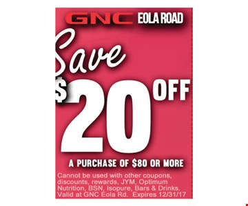 Save $20 Off of $80 or more