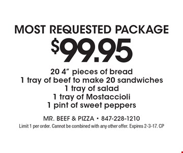 Most requested Package! $99.95 20 4