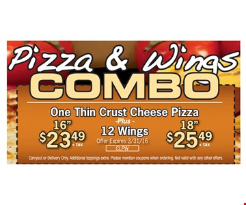 Pizza & Wings Combo $23.49 +tax 16