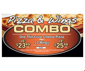 Pizza & Wings Combo $23.49 or $25.49