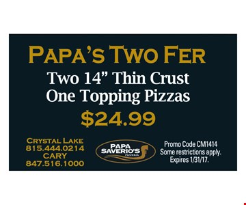 Papa's Two Fer $24.99