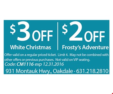 $3 Off White Christmas or $2 Off Frosty's Adventure