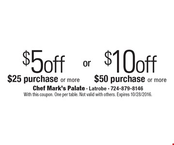$10 off $50 purchase or more OR  $5off $25 purchase or more. With this coupon. One per table. Not valid with others. Expires 10/28/2016.
