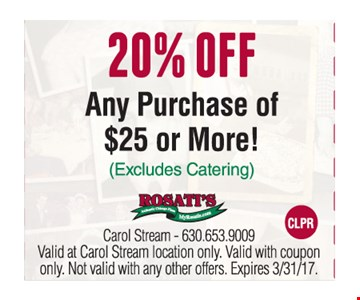 20% off any purchase of $25 or more
