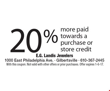 20% more paid towards a purchase or store credit. With this coupon. Not valid with other offers or prior purchases. Offer expires 1-6-17.