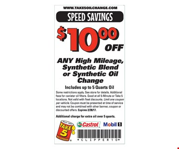 $10.00 Off Any High Mileage, Synthetic Blend or Synthetic Oil Change