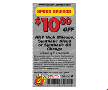 $10 Off Any High Mileage Synthetic Blend or Synthetic Oil Change