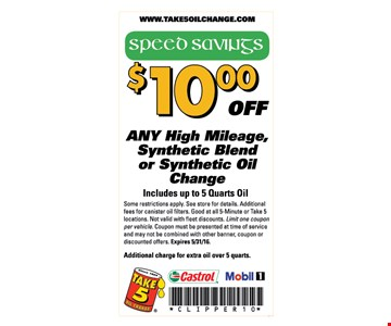 $10 off your oil change.