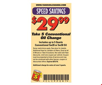 $29.99 Take 5 Conventional Oil Change