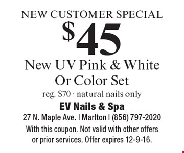 NEW CUSTOMER SPECIAL $45 New UV Pink & White Or Color Set. Reg. $70 - natural nails only. With this coupon. Not valid with other offers or prior services. Offer expires 12-9-16.