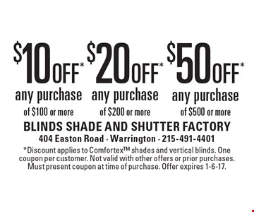 $10 off any purchase of $100 or more OR $20 off any purchase of $200 or more OR $50 off any purchase of $500 or more. *Discount applies to Comfortex shades and vertical blinds. One coupon per customer. Not valid with other offers or prior purchases. Must present coupon at time of purchase. Offer expires 1-6-17.