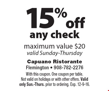 15%off any check maximum value $20valid Sunday-Thursday. With this coupon. One coupon per table.Not valid on holidays or with other offers. Validonly Sun.-Thurs. prior to ordering. Exp. 12-9-16.
