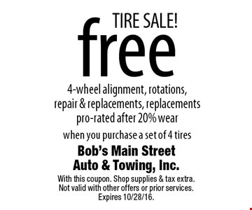 TIRE SALE! free 4-wheel alignment, rotations, repair & replacements, replacements pro-rated after 20% wear when you purchase a set of 4 tires. With this coupon. Shop supplies & tax extra. Not valid with other offers or prior services. Expires 10/28/16.