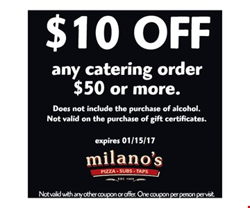$10 off any catering order of $50 or more