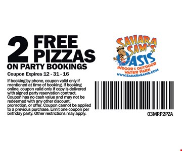 2 Free Pizzas