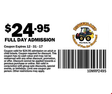 Full Day Admission for $24.95