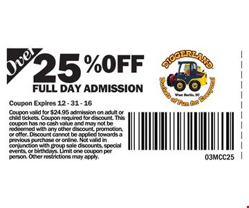 25% off Full Day Admission
