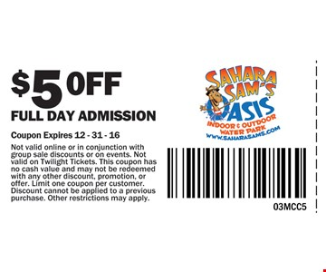 $5 off Full Day Admission