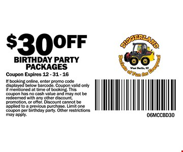 $30 off birthday party packages