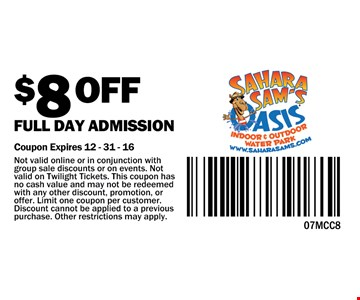 $8 off full day admission