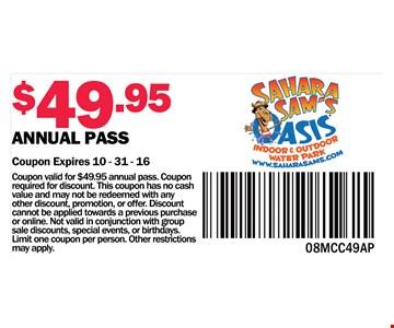 $49.95 annual pass