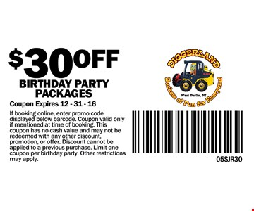$30 off birthday party