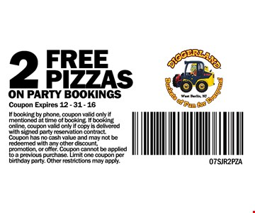 2 free pizzas on party bookings
