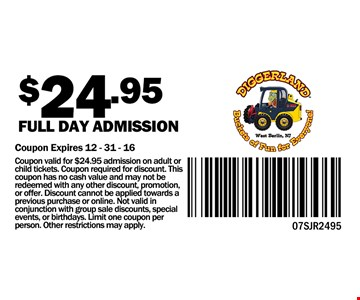 $24.95 Full day admission